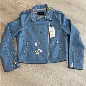 Aier Basic Blue Embroidered Leather Jacket NWT XL